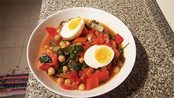 Tunisian Breakfast Soup with greens