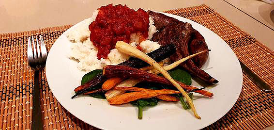 Braai'd Boerewors, lamb chops, krummelpap and roast veggies.